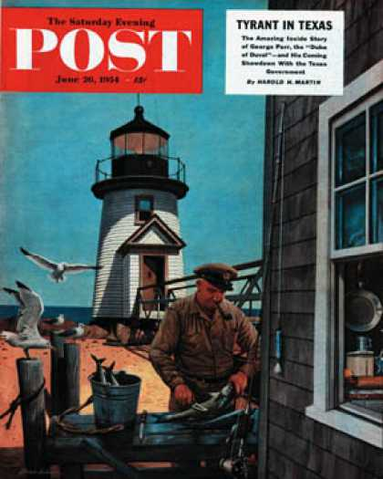 Saturday Evening Post - 1954-06-26: Lighthouse Keeper (Stevan Dohanos)