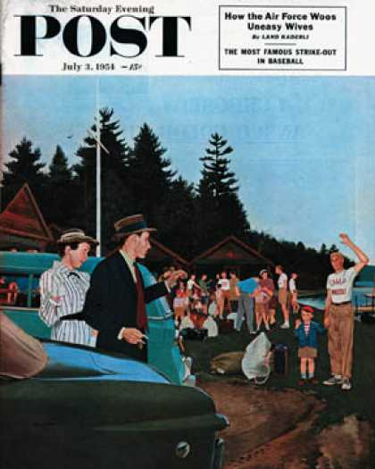 Saturday Evening Post - 1954-07-03: First Day at Camp (George Hughes)