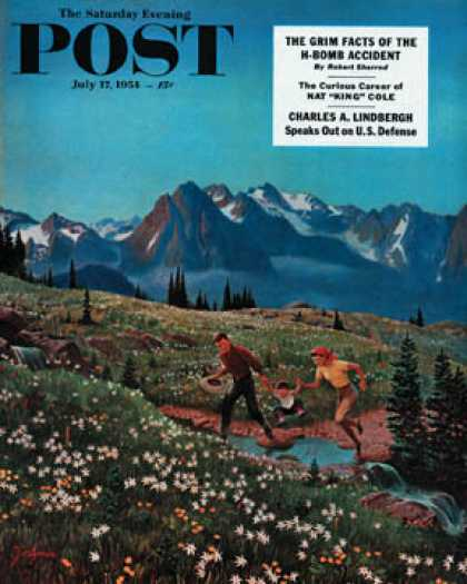 Saturday Evening Post - 1954-07-17: Picnic On Mt. Ranier (John Clymer)