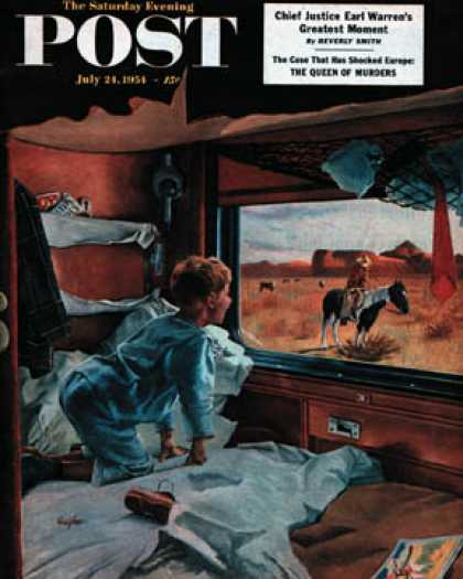 Saturday Evening Post - 1954-07-24: Train Window on the West (George Hughes)