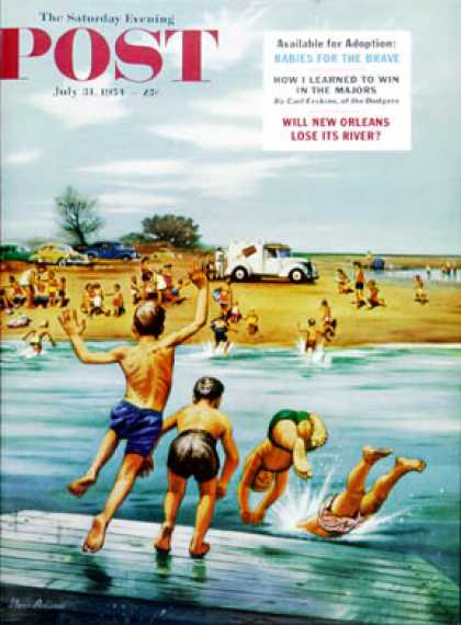 Saturday Evening Post - 1954-07-31: Ice Cream Truck at the Beach (Stevan Dohanos)