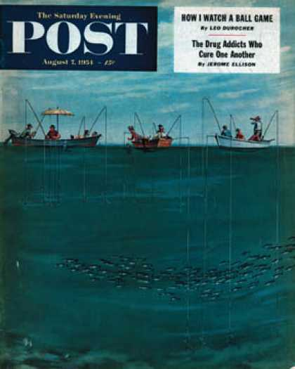 Saturday Evening Post - 1954-08-07: School of Fish Among Lines (Thornton Utz)