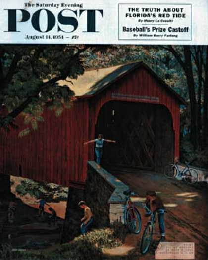 Saturday Evening Post - 1954-08-14: Covered Bridge (John Falter)