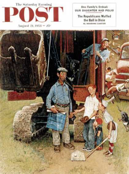 "Saturday Evening Post - 1954-08-21: ""Construction Crew"" (Norman Rockwell)"