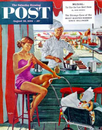 Saturday Evening Post - 1954-08-28: Babysitter at Beach Stand (George Hughes)