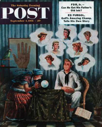 Saturday Evening Post - 1954-09-04: Which One? (Constantin Alajalov)