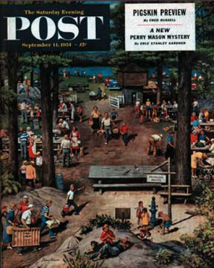 Saturday Evening Post - 1954-09-11: Labor Day Picnic (Stevan Dohanos)