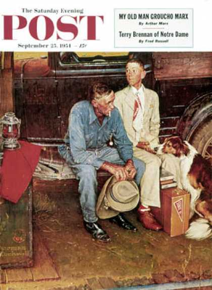 "Saturday Evening Post - 1954-09-25: ""Breaking Home Ties"" (Norman Rockwell)"