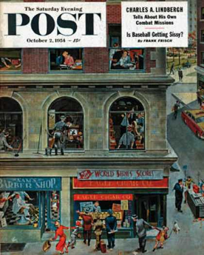 Saturday Evening Post - 1954-10-02: World Series Scores (Thornton Utz)
