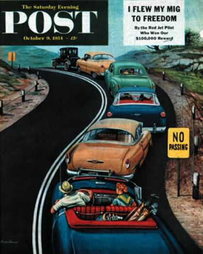 "Saturday Evening Post - 1954-10-09: ""No Passing"" (Stevan Dohanos)"