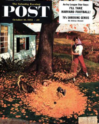 Saturday Evening Post - 1954-10-16: Leaf Pile (John Clymer)