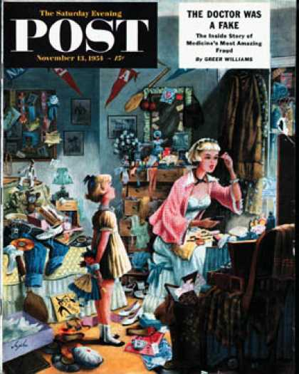 Saturday Evening Post - 1954-11-13: Getting Ready for a Date (Constantin Alajalov)