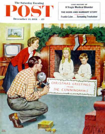 Saturday Evening Post - 1954-12-11: Christmas Photograph (Amos Sewell)