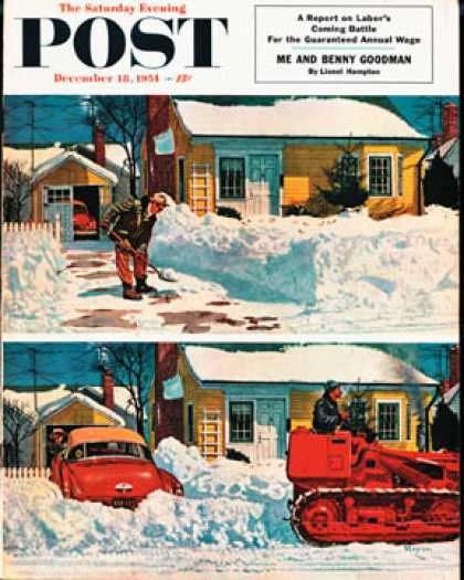 Saturday Evening Post - 1954-12-18: Plowed-Over Driveway (Earl Mayan)