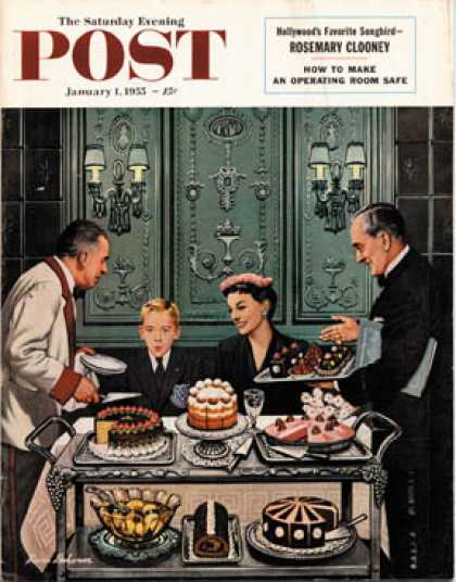 Saturday Evening Post - 1955-01-01: Dessert Cart (Stevan Dohanos)