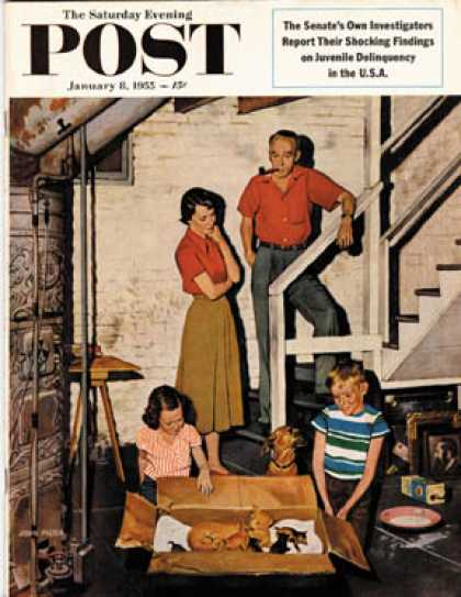 Saturday Evening Post - 1955-01-08: Kittens in the Basement (John Falter)