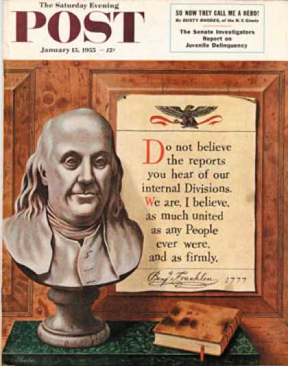Saturday Evening Post - 1955-01-15: Benjamin Franklin - bust and quote (John Atherton)