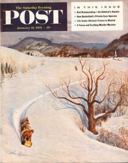 Saturday Evening Post - 1955-01-22: Tobogganing (John Clymer)