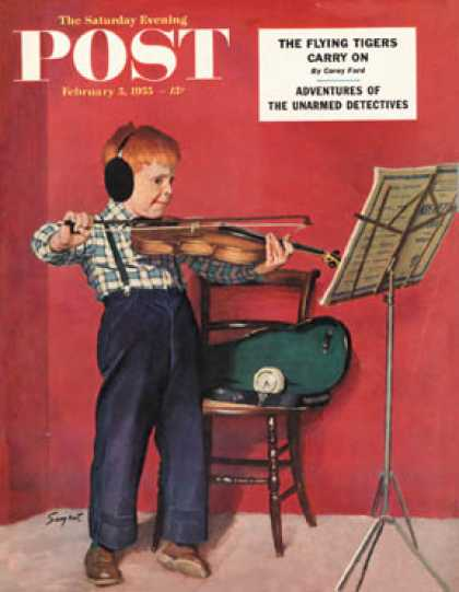 Saturday Evening Post - 1955-02-05: Violin Practice (Richard Sargent)
