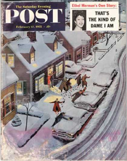 Saturday Evening Post - 1955-02-12: Party After Snowfall (Ben Kimberly Prins)