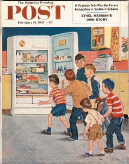 Saturday Evening Post - 1955-02-19: Refrigerator Raid (Amos Sewell)