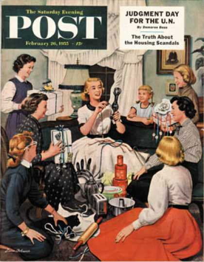 Saturday Evening Post - 1955-02-26: Bridal Shower (Stevan Dohanos)