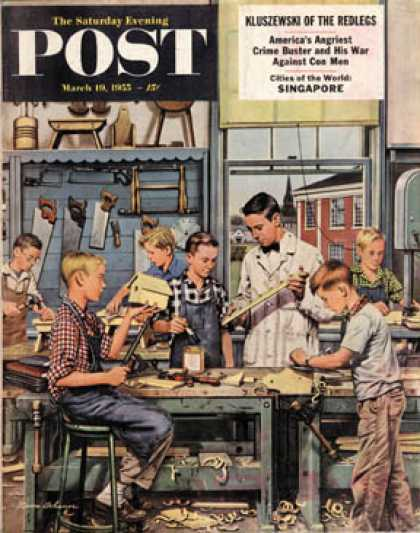 Saturday Evening Post - 1955-03-19: Shop Class (Stevan Dohanos)