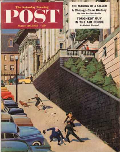 Saturday Evening Post - 1955-03-26: Spilled Purse on Steep Hill (John Falter)