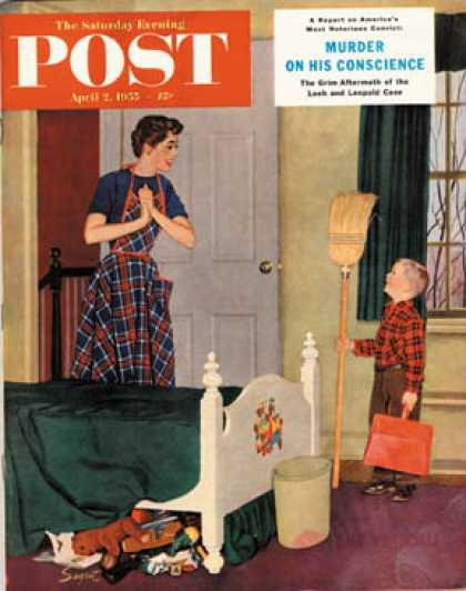 Saturday Evening Post - 1955-04-02: Mom, I Cleaned My Room! (Richard Sargent)