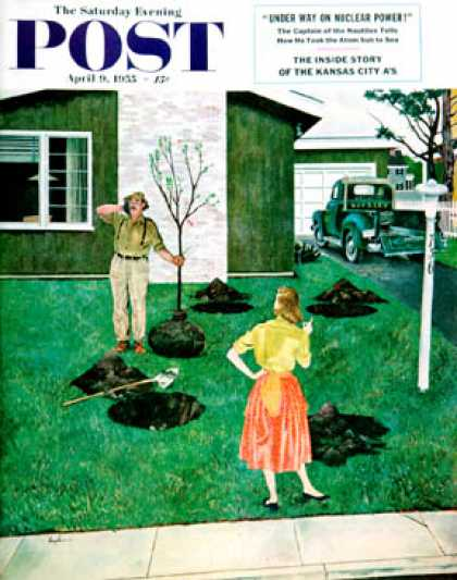Saturday Evening Post - 1955-04-09: Put the Tree There? (George Hughes)