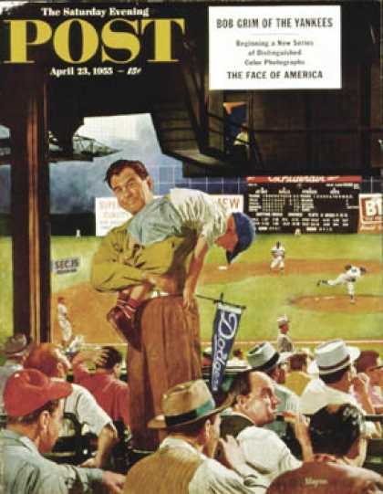Saturday Evening Post - 1955-04-23: Sleepy Inning (Earl Mayan)