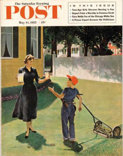 Saturday Evening Post - 1955-05-14: Lemonade for the Lawnboy (George Hughes)