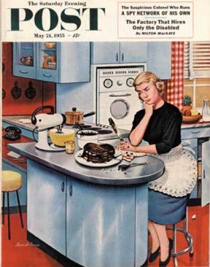 Saturday Evening Post - 1955-05-21: First Cake (Stevan Dohanos)