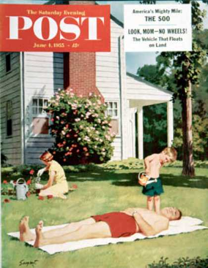 Saturday Evening Post - 1955-06-04: Watering Father (Richard Sargent)