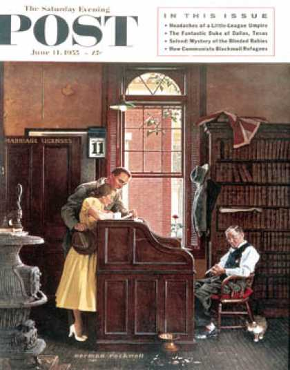 "Saturday Evening Post - 1955-06-11: ""Marriage License"" (Norman Rockwell)"
