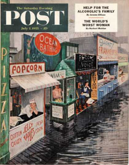 Saturday Evening Post - 1955-07-02: Rain on the Boardwalk (George Hughes)