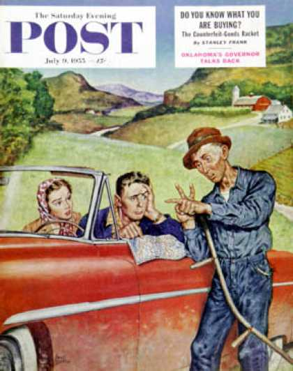Saturday Evening Post - 1955-07-09: Go Two Miles, Turn Left... (Amos Sewell)