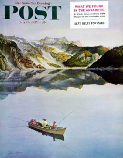 Saturday Evening Post - 1955-07-16: Fishing on Mountain Lake (John Clymer)