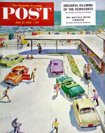 Saturday Evening Post - 1955-07-23: Flat Tire at the Beach (Thornton Utz)