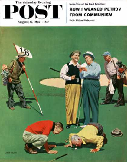 Saturday Evening Post - 1955-08-06: Eighteenth Hole (John Falter)