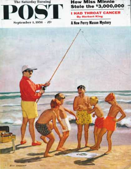 Saturday Evening Post - 1956-09-01: Big Pole Little Fish (Richard Sargent)