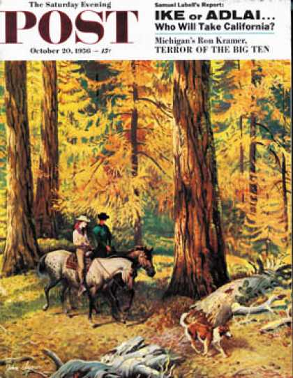 Saturday Evening Post - 1956-10-20: Fall Horseback Ride (John Clymer)