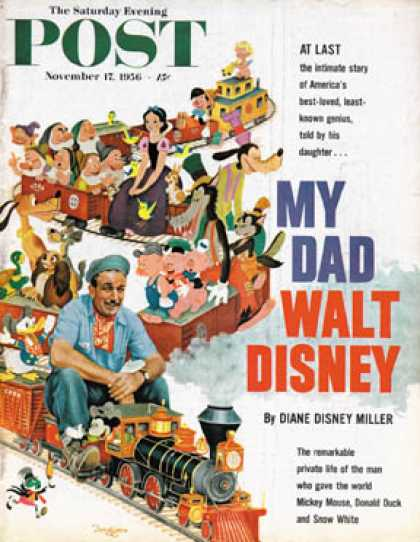 Saturday Evening Post - 1956-11-17: Walt Disney on Toon Train (Gustaf Tenggren)