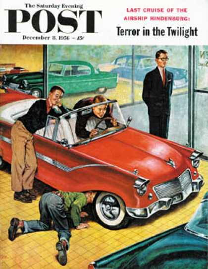 Saturday Evening Post - 1956-12-08: Automobile Showroom (Amos Sewell)