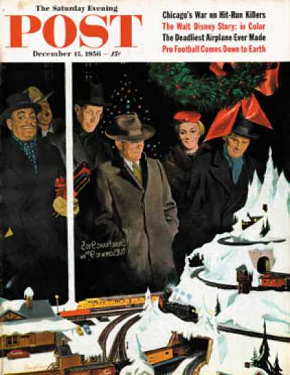 Saturday Evening Post - 1956-12-15: Christmas Train Set (George Hughes)