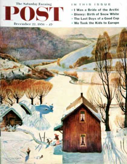 Saturday Evening Post - 1956-12-22: Snow on the Farm (John Clymer)