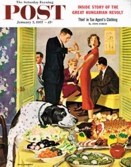 Saturday Evening Post - 1957-01-05: Doggy Buffet (Richard Sargent)