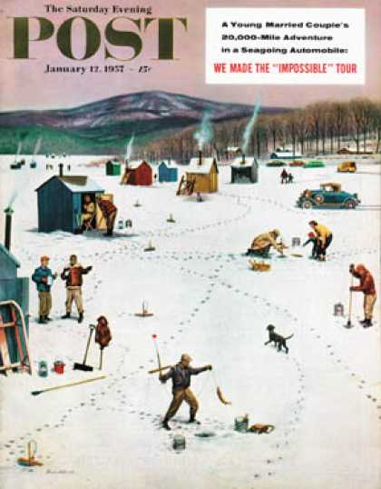 Saturday Evening Post - 1957-01-12: Ice Fishing Camp (Stevan Dohanos)