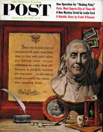 Saturday Evening Post - 1957-01-19: Benjamin Franklin - bust and quote (Stanley Meltzoff)