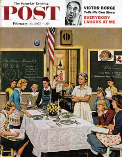 Saturday Evening Post - 1957-02-16: Setting the Table (Stevan Dohanos)